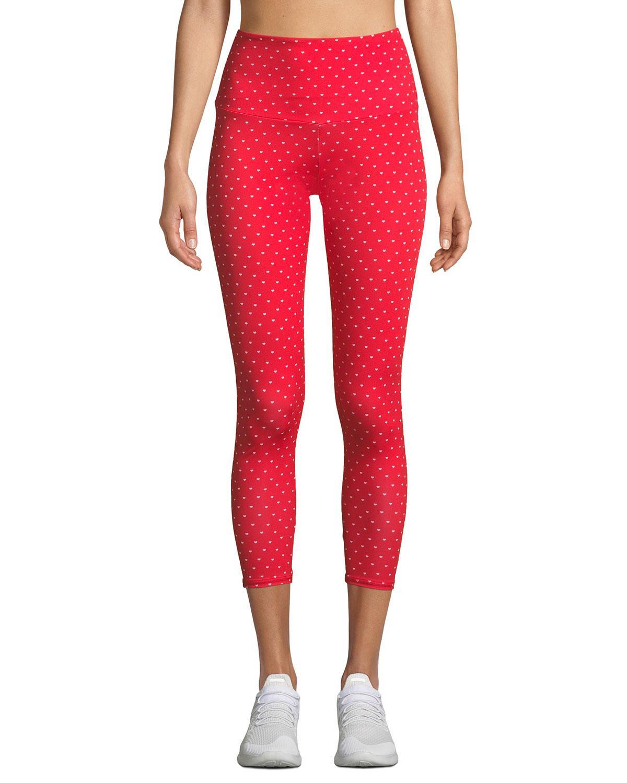 bec6618eb3992 Onzie High-rise Basic Midi Heart-print Yoga Leggings in Red - Lyst