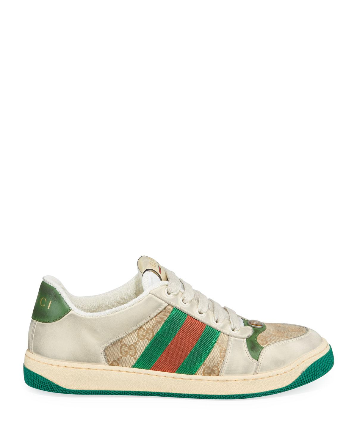 dad4dca6d8a Gucci - White Virtus Distressed Leather And Webbing Sneakers for Men -  Lyst. View fullscreen