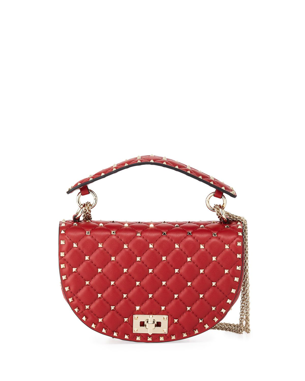 092941123053 Lyst - Valentino Rockstud Spike Napa Leather Saddle Bag in Red