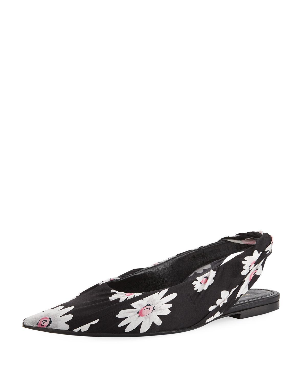 74d84652dc9f Lyst - Balenciaga Floral-print Slingback Flat in Black
