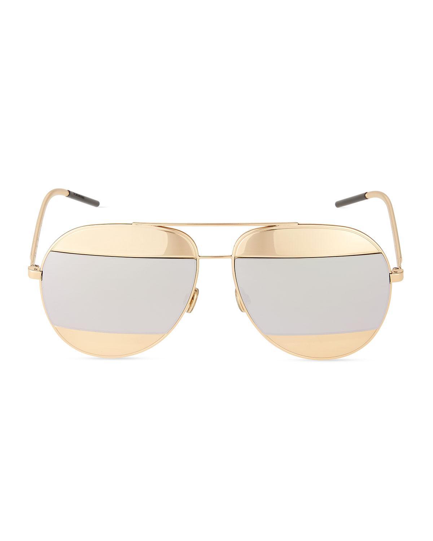 39da9c61f49 Lyst - Dior Split Two-tone Metallic Aviator Sunglasses in Metallic