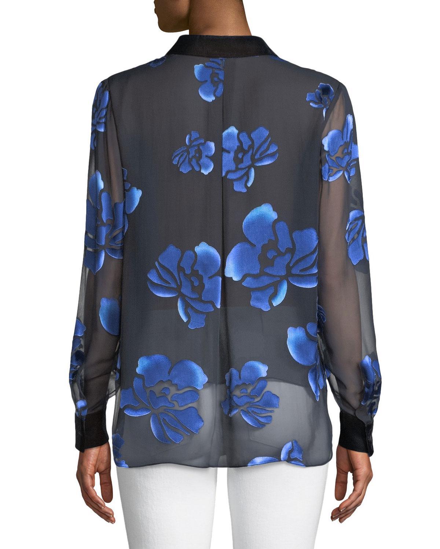 6d3758fa59c8a6 Lyst - Elie Tahari Martha Floral-burnout Blouse in Blue