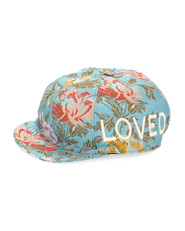 fccec9f1950f Lyst - Gucci Loved Floral Jacquard Baseball Cap in Blue