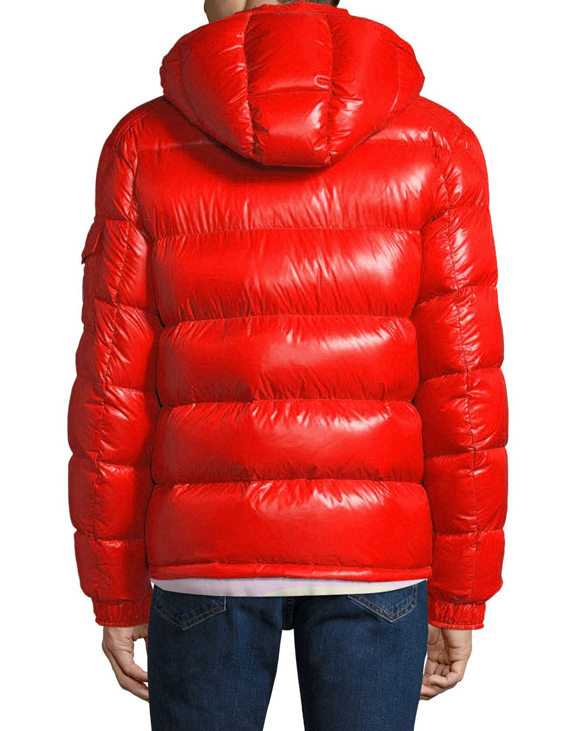 1f1617bdabde Lyst - Moncler Men s Maya Shiny Down Puffer Jacket With Hood in Red ...