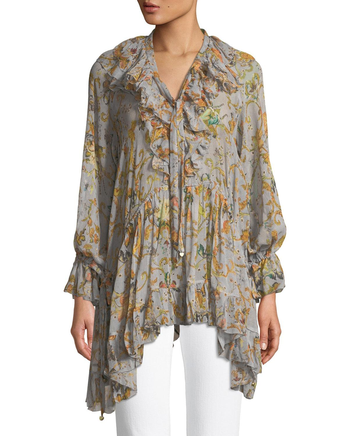 Painted Heart floral-print ruffled silk top Zimmermann