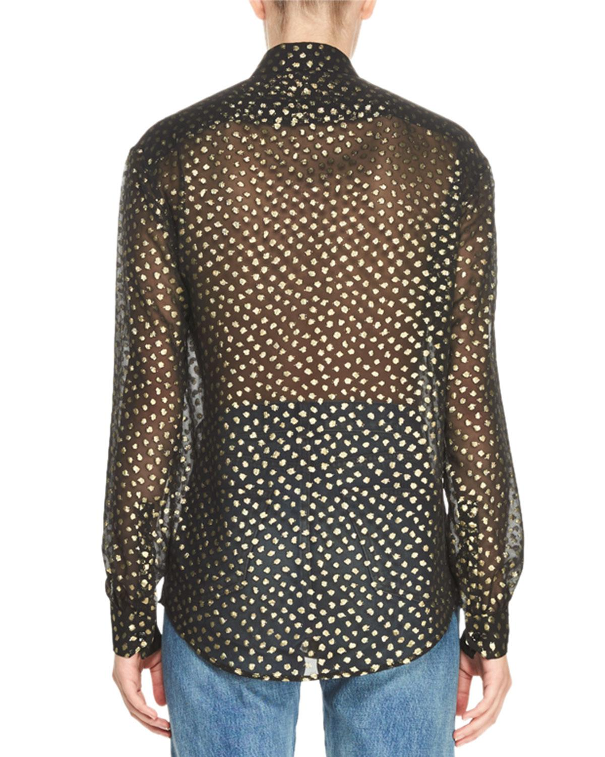 Cheap Newest Outlet 2018 Metallic Polka Dot Chiffon Blouse Saint Laurent How Much For Sale Bvjq0