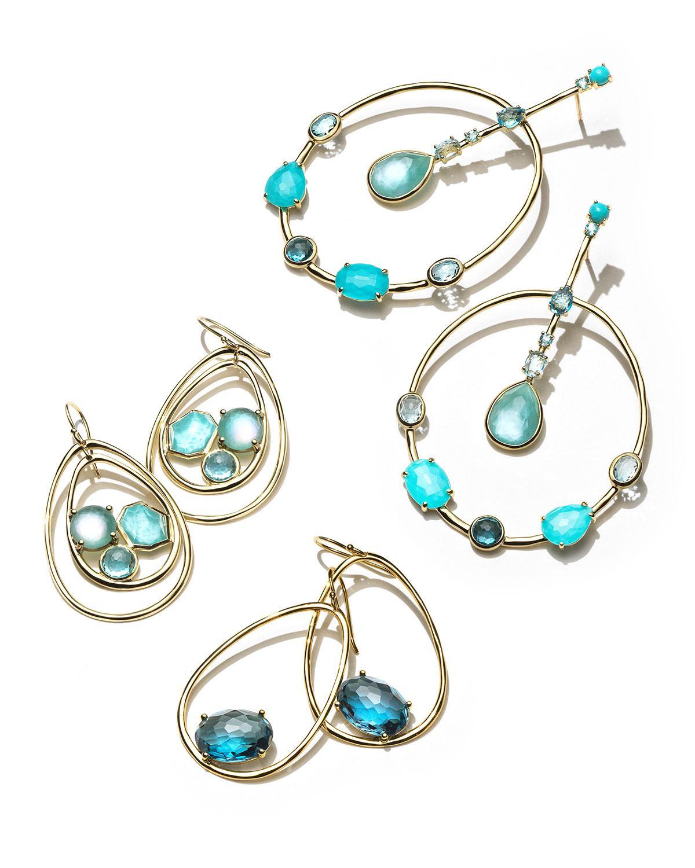 Ippolita 18K Rock Candy Tipped Oval Wire Earrings in London Blue Topaz rGYoMfJYX