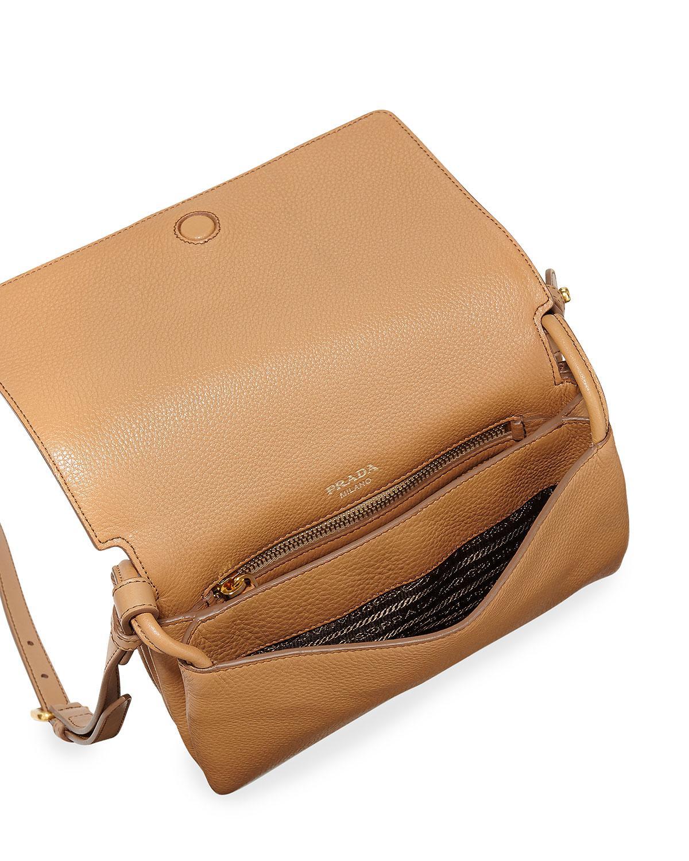 2040afd8bc8c Prada Vitello Daino Double-gusset Shoulder Bag in Gray - Lyst