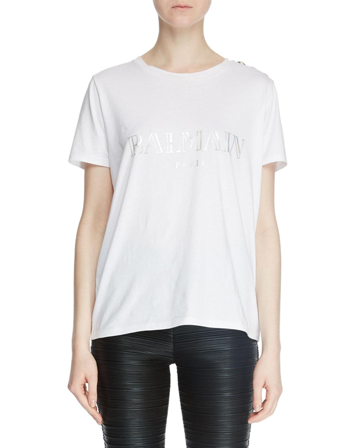 706d316a Lyst - Balmain Logo Crewneck Short-sleeve Cotton Tee in Black