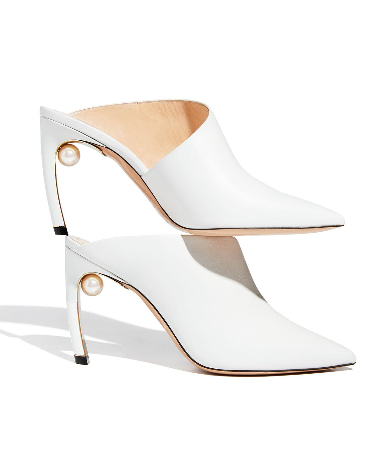1183e9a3272 Nicholas Kirkwood Mira Pearly Leather 90mm Mule Pump in White - Lyst