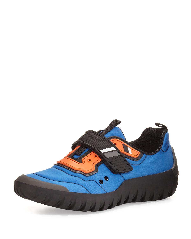 8d9bf31ee8e31 Lyst - Prada Men s Colorblock Nylon Scuba Sneakers in Blue