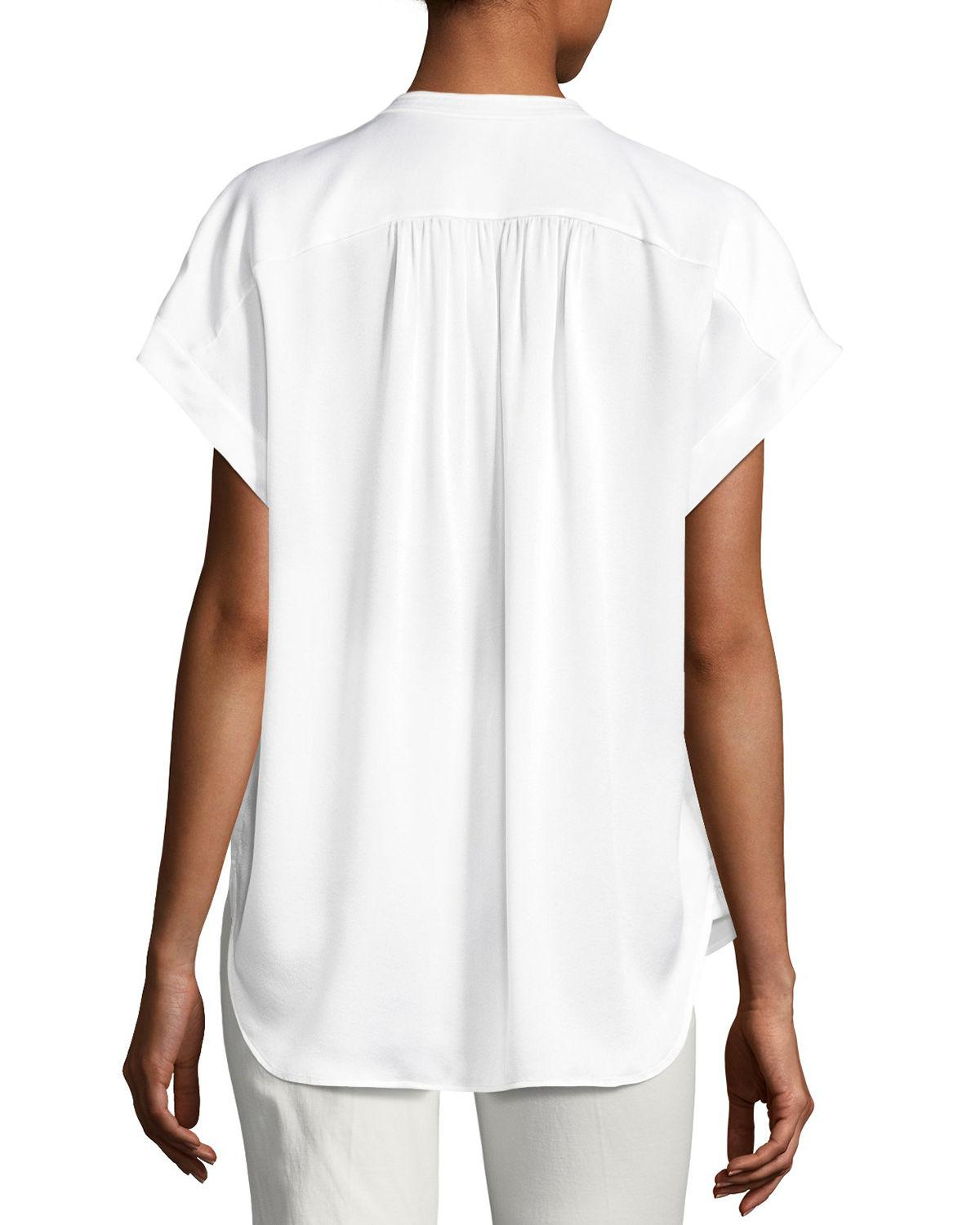 db5fa666830149 Lyst - Vince Button-placket Short-sleeve Silk Satin Blouse in White