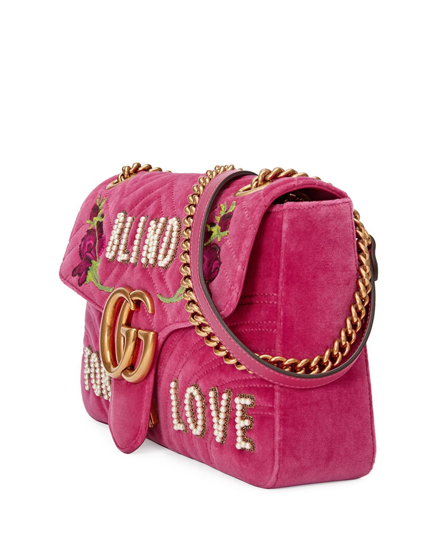 5d9d382d991b3b Gucci Gg Marmont Medium Embroidered Velvet Blind For Love Shoulder ...