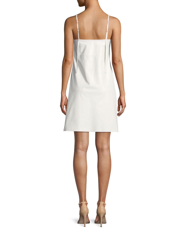 709e74c9d8681 Lyst - Helmut Lang Calf Leather Mini Slip Dress in White