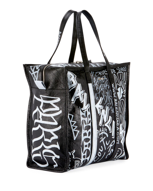 Lyst - Balenciaga Men s Bazar Medium Graffiti Leather Shopper Tote Bag in  Black b65ef12f638bf