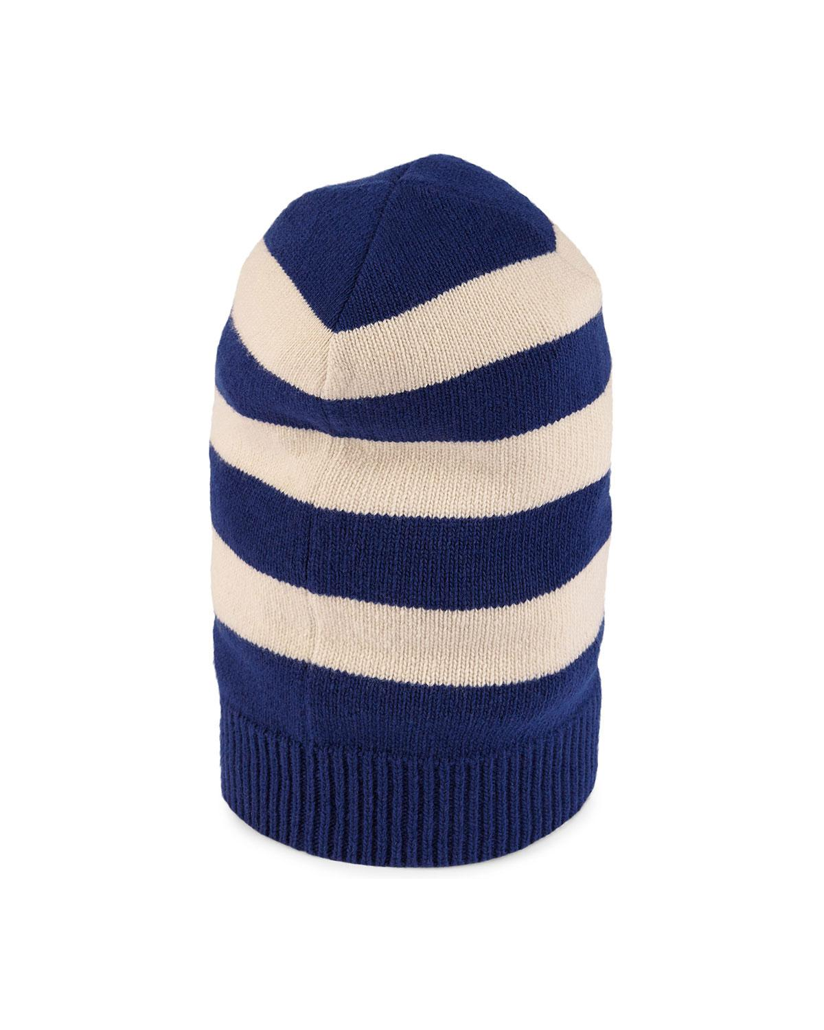 09350a8c54dfe Gucci Striped Wool Hat With Tiger Appliqué in Blue for Men - Lyst