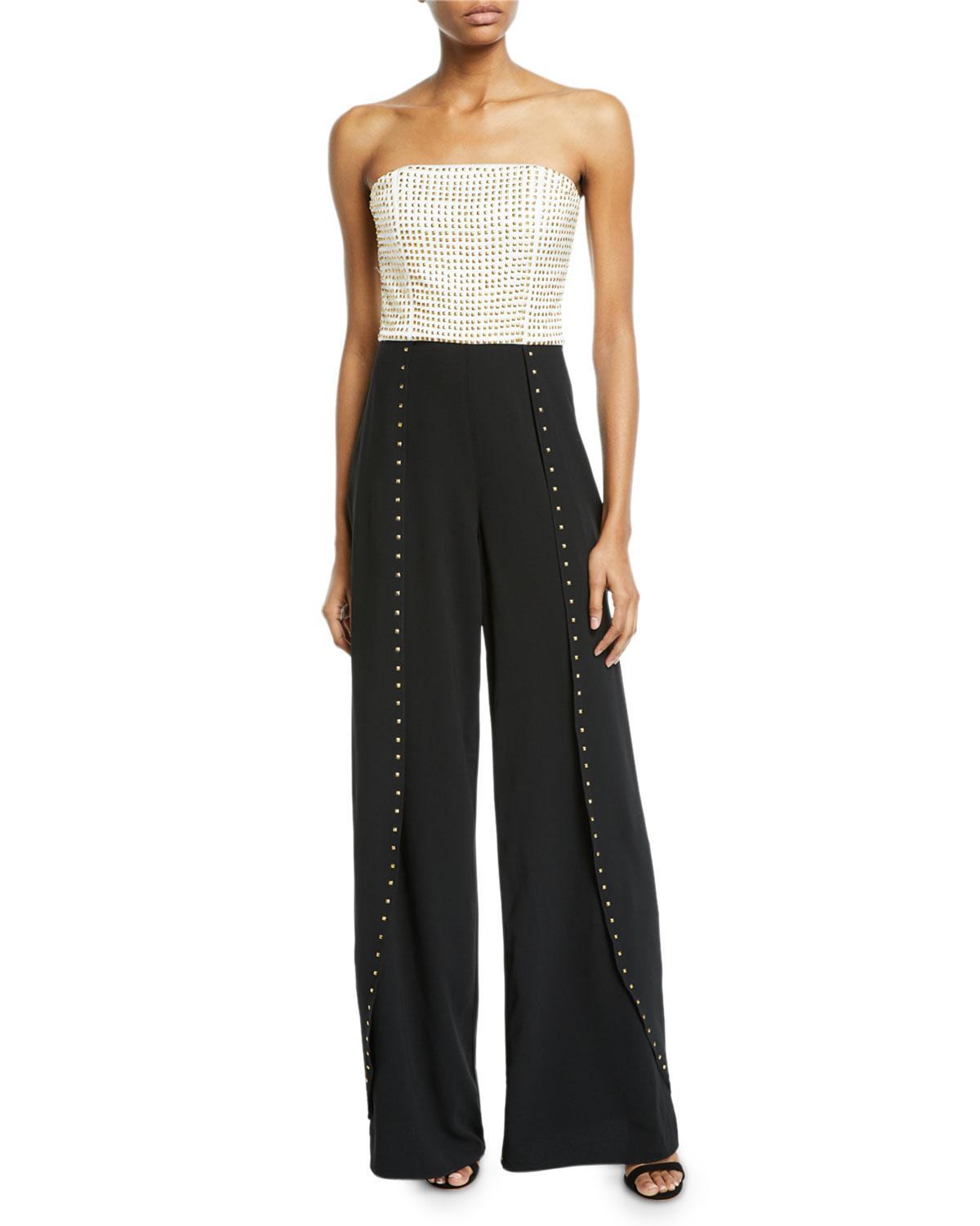 841aad87012f Alice + Olivia. Women s Black Angelica Studded Open-pleat Bustier Jumpsuit