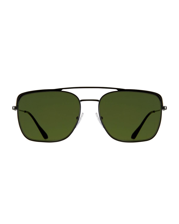 07a2d211a0cc Prada Men's Square Metal Aviator Sunglasses in Green for Men - Lyst