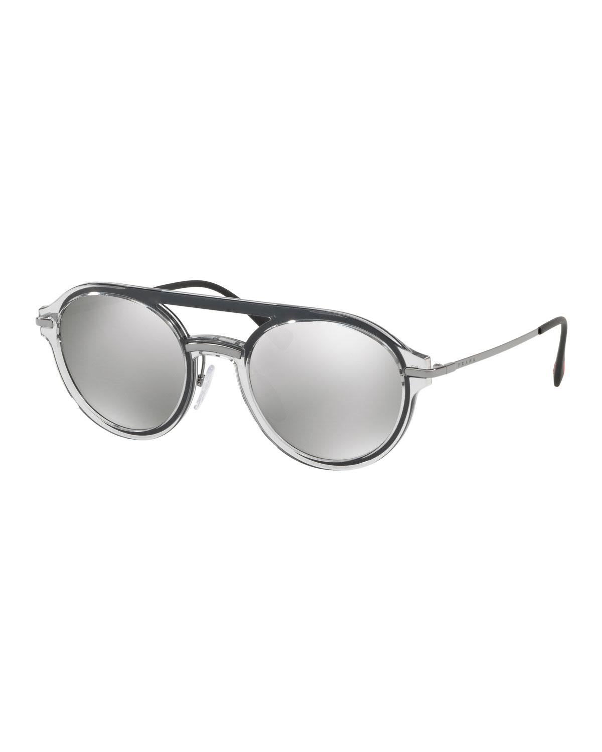 25b4bffe23d Lyst - Prada Men s Round Plastic Mirrored Sunglasses in Gray