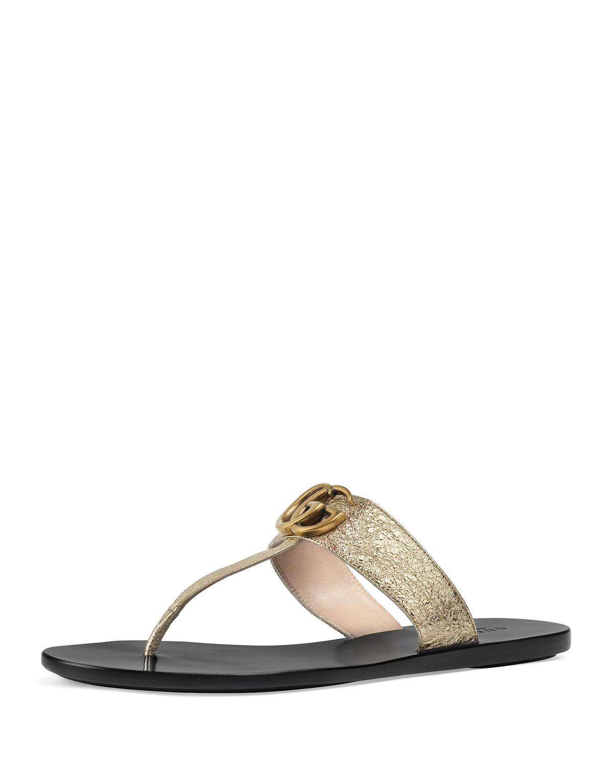 e4cf073fb8b3 Lyst - Gucci Gold Double G Leather Thong Sandal. in Metallic - Save 13%