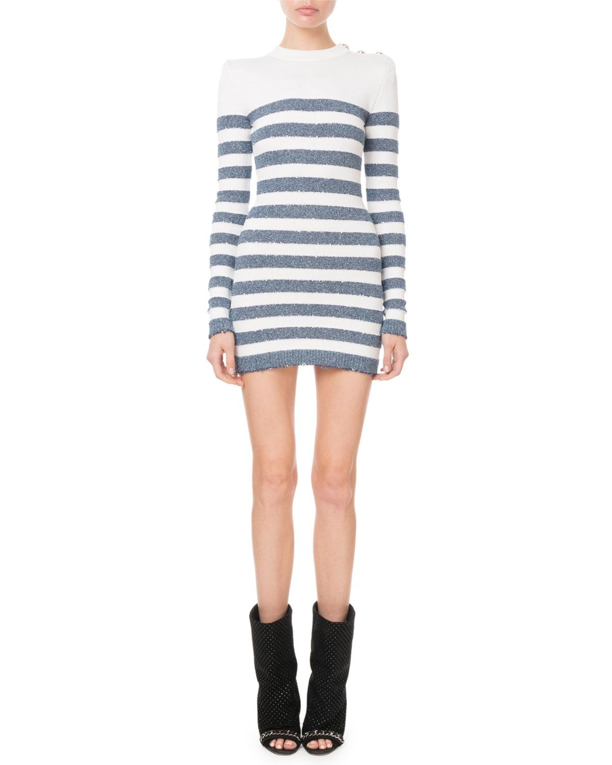 5c00af4ad907 Lyst - Balmain Sequinned Striped Knit Mini Dress in Blue - Save 17%