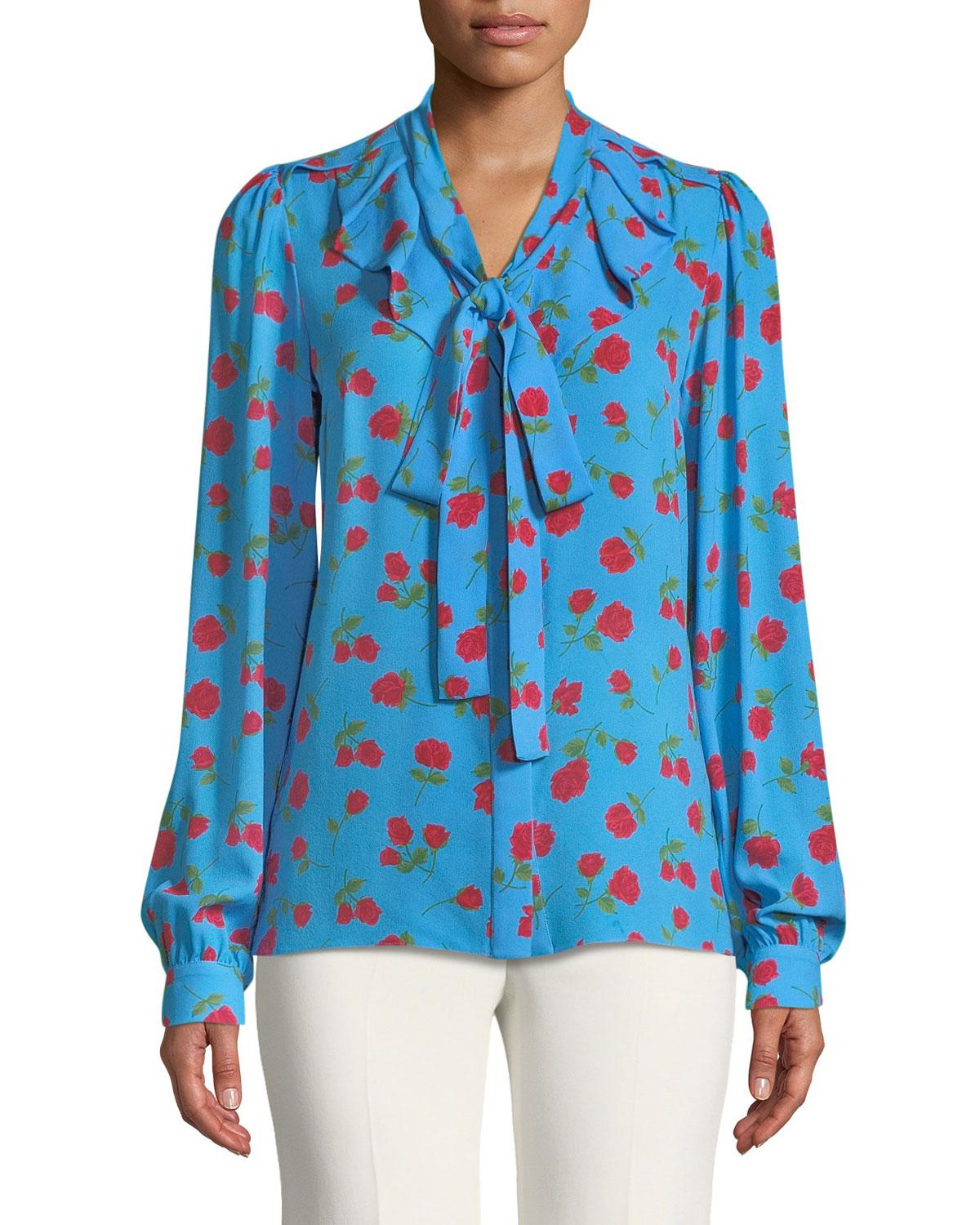 ea037ab2d7f51 Lyst - Michael Kors Button-down Tie-neck Scattered Rose-print Silk ...