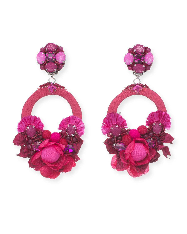 Ranjana Khan Raffia Beaded Fan Clip-On Earrings lKkp9x