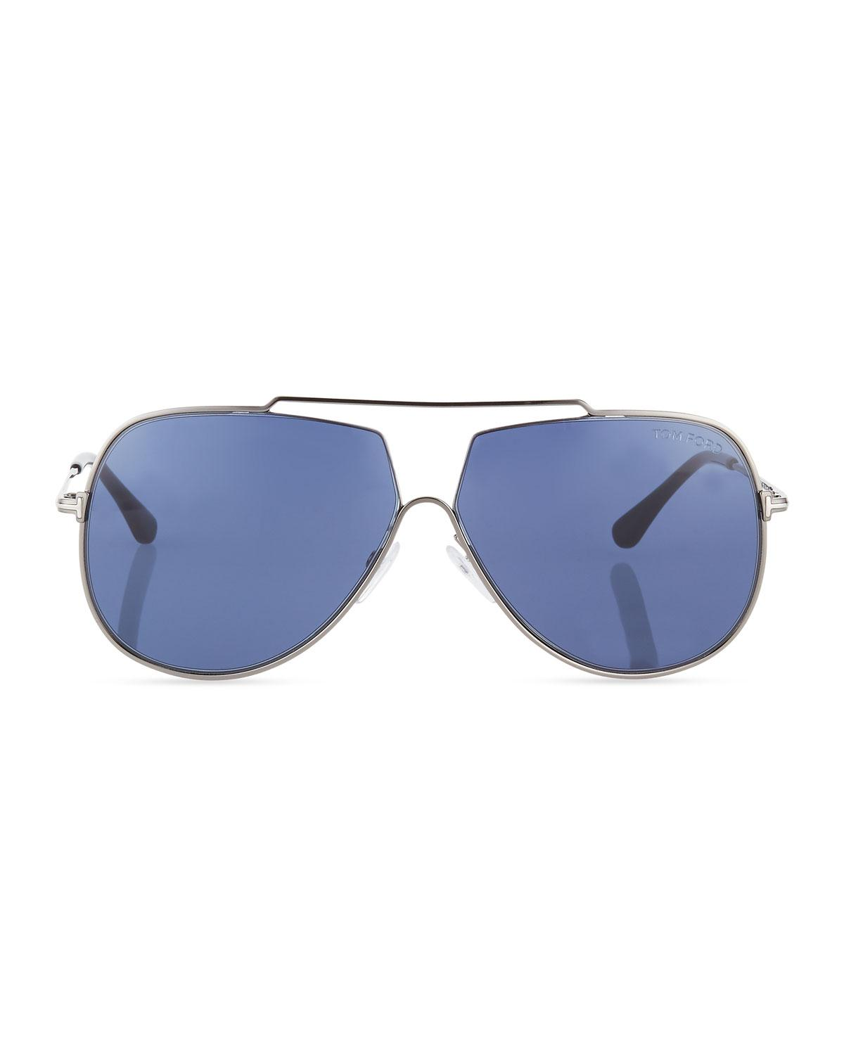 cd2ec631769a Lyst - Tom Ford Chase Double-bar Aviator Sunglasses Blue in Blue for Men