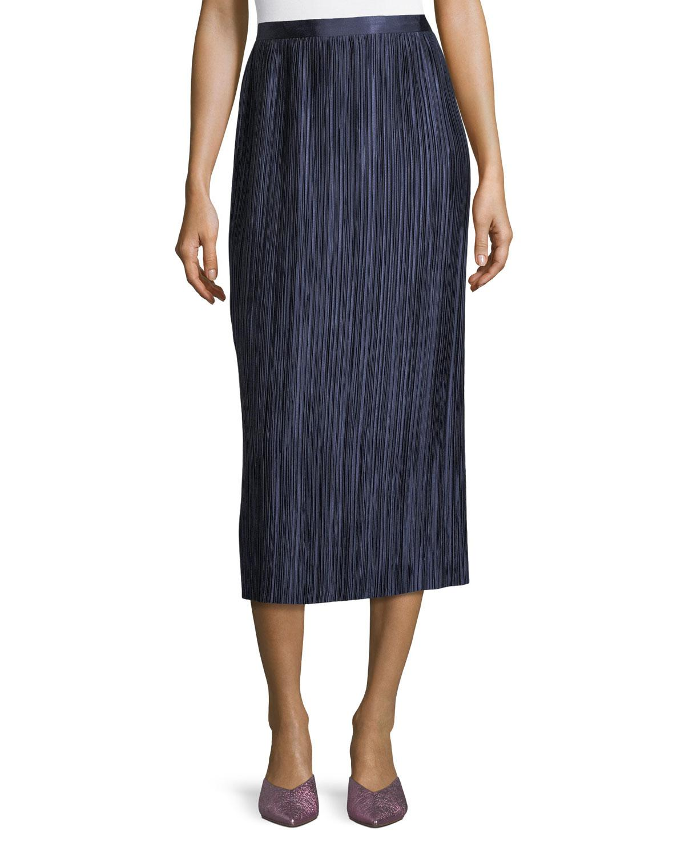 3d9b676543 Lyst - Tibi Plisse Pleated Midi Skirt in Blue