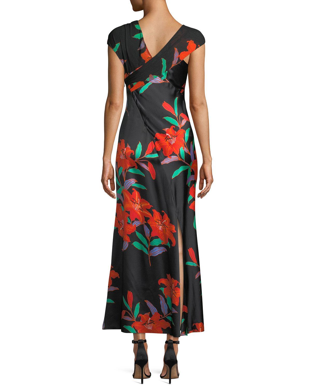 f0ca186ca72 Diane von Furstenberg Floral Silk Asymmetric-sleeve Knotted Dress in Black  - Lyst