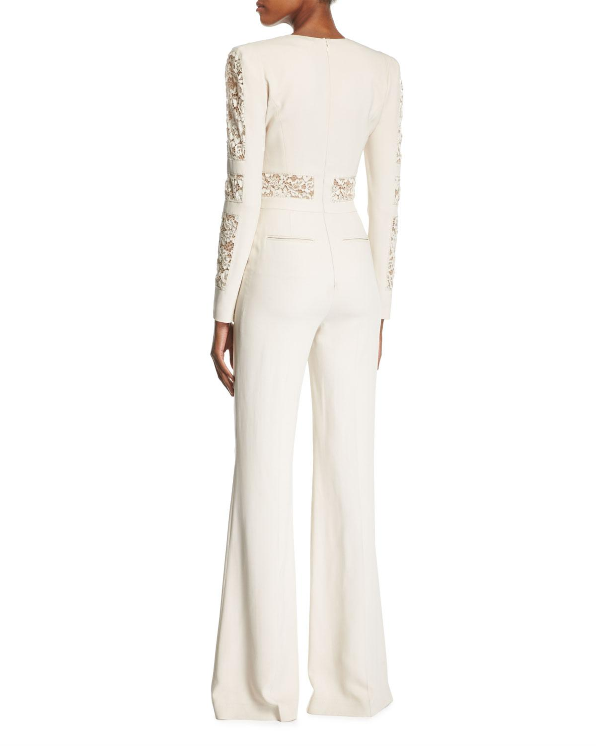 db176a847c1 Lyst - Elie Saab Long-sleeve Lace-paneled Jumpsuit in White