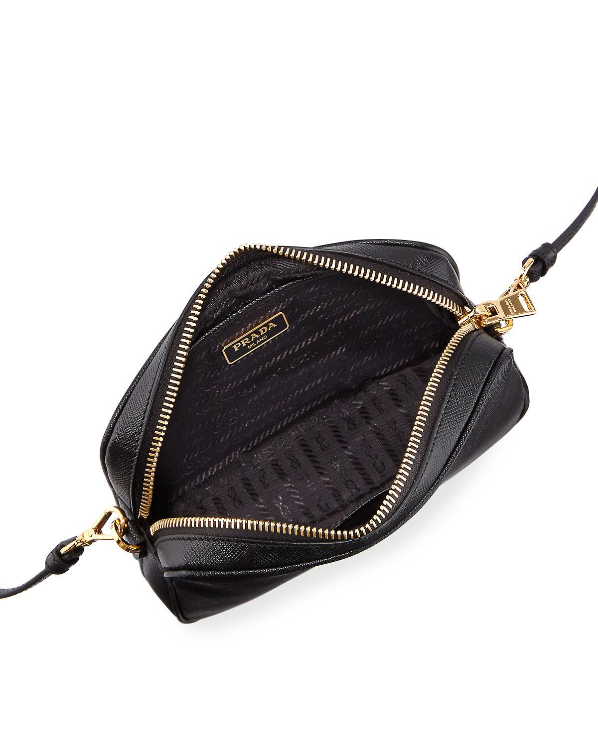 6af63697f0e4 ... inexpensive lyst prada small saffiano leather camera crossbody bag in  black 1ff6d 0107c
