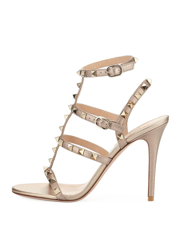 fc26c1b4cdaa Lyst - Valentino Rockstud Metallic Leather 105mm Sandals in Metallic