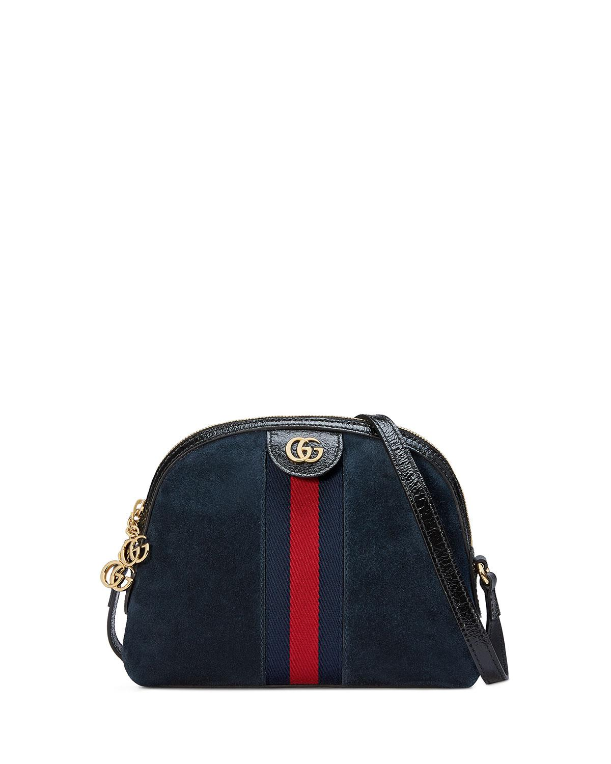 a04ef07f9d0a Gucci Linea Dragoni Suede Small Chain Shoulder Bag in Black - Lyst