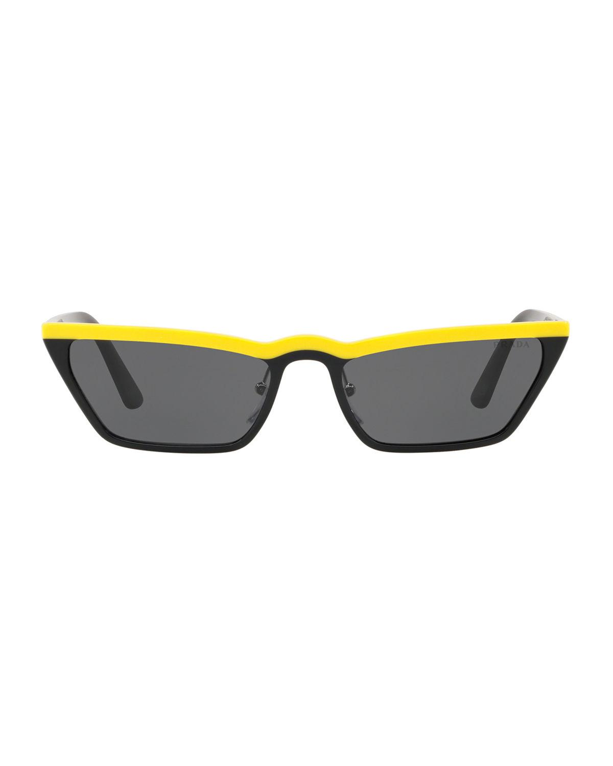 957d339b7ac5 Lyst - Prada Slim Acetate Cat-eye Sunglasses in Yellow