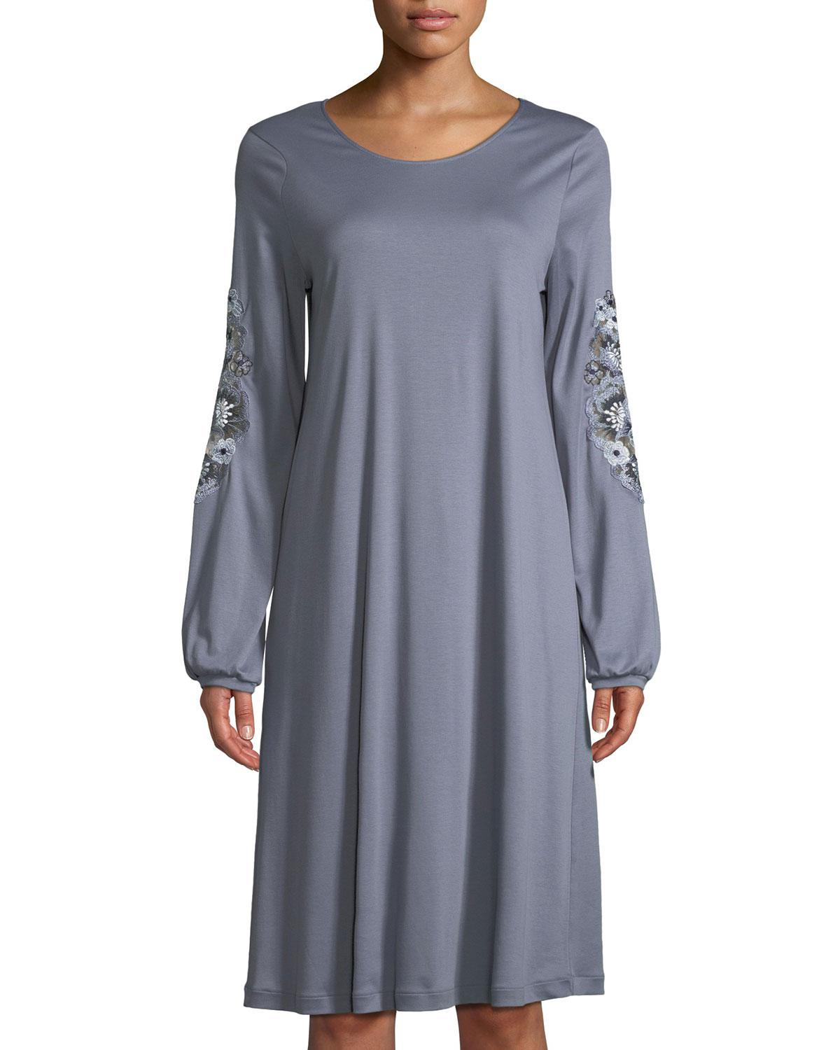 6f8ad4c4f9 Lyst - Hanro Jana Floral-embroidery Short Nightgown in Blue