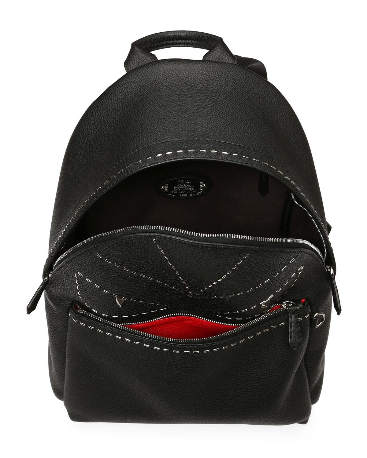56c0fef3077 Fendi Stitched Monster Eyes Leather Backpack in Gray - Lyst