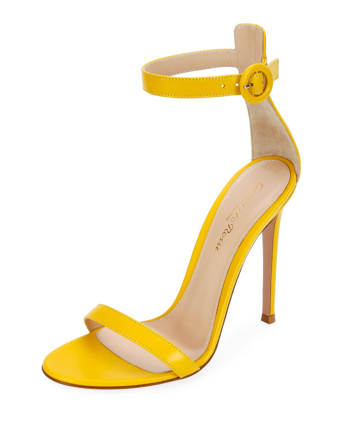 7c71623b26ad Lyst - Gianvito Rossi Leather Ankle-strap Sandals in Yellow