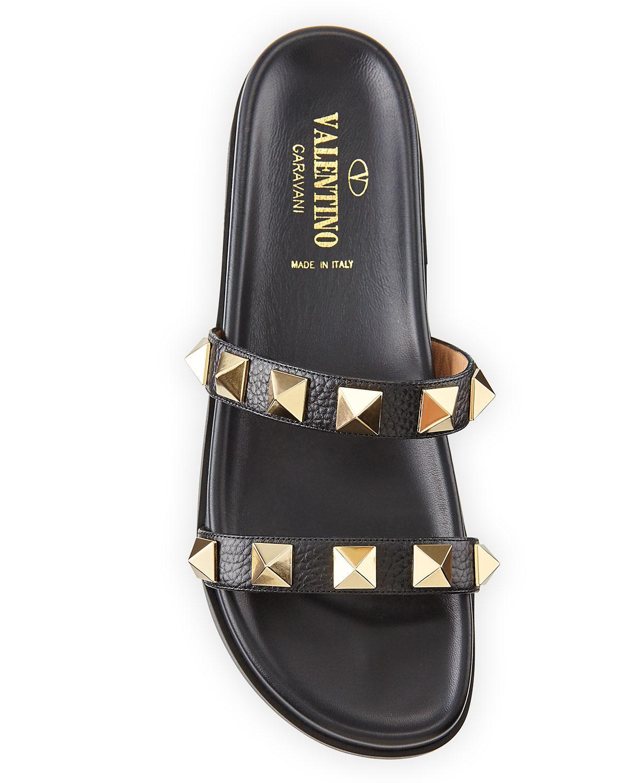 1086bb1246b5 Lyst - Valentino Rockstud Leather Two-band Slide Sandal in Black