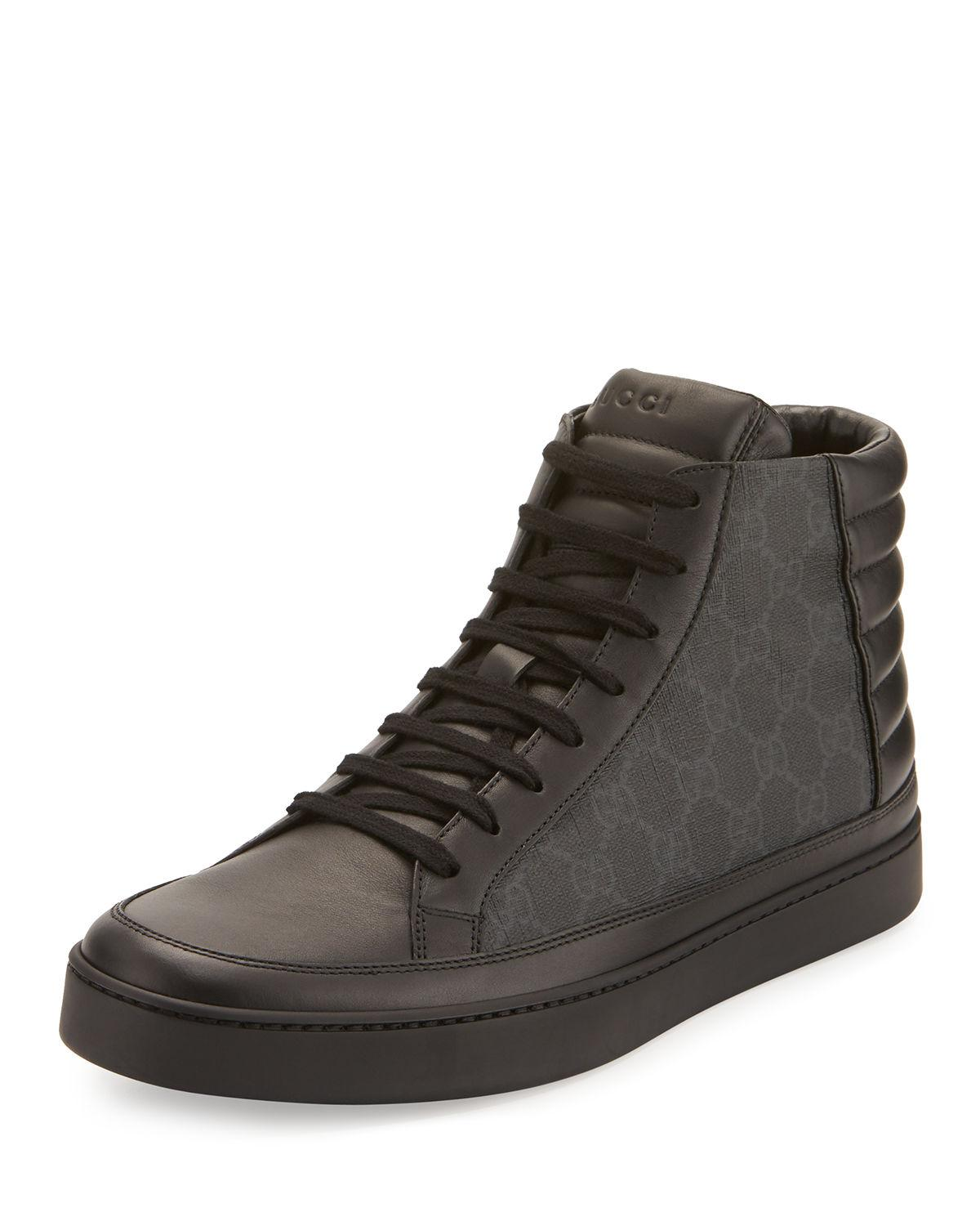 b9562200f Lyst - Gucci Men s Common Canvas   Leather High-top Sneakers in ...