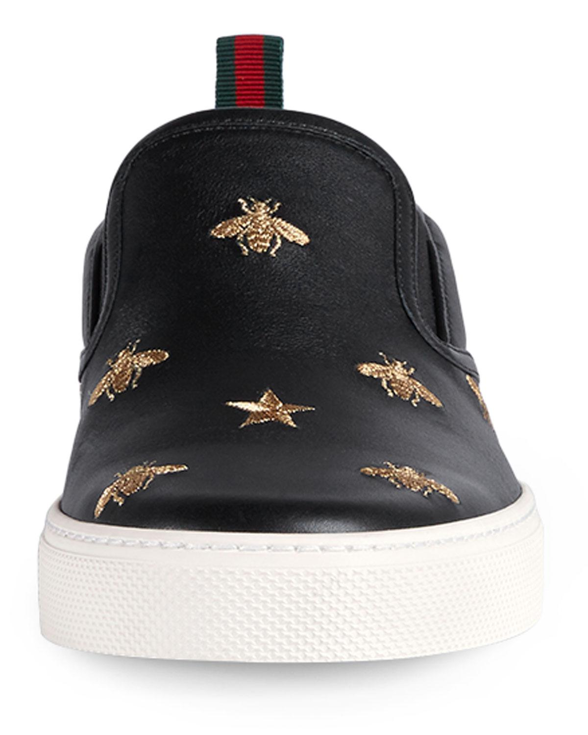 cab4470673d5 Lyst - Gucci Leather Slip-on Sneakers With Bees in Black for Men - Save 14%