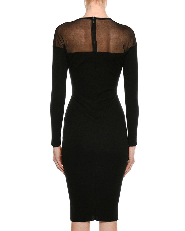 af597786755 Tom Ford Round-neck Illusion-yoke Silk Knit Cocktail Dress in Black - Lyst
