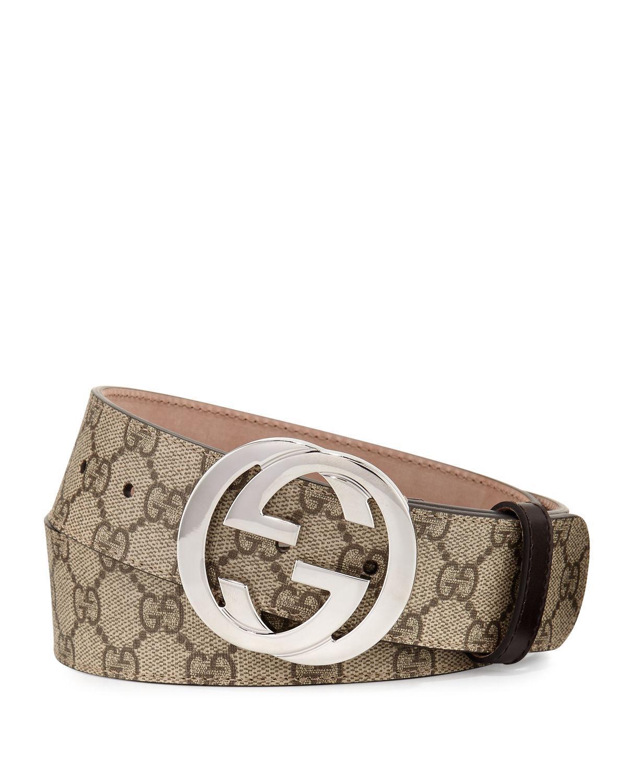 5c0d44c9e9c Lyst - Gucci GG Supreme Belt W interlocking G in Natural