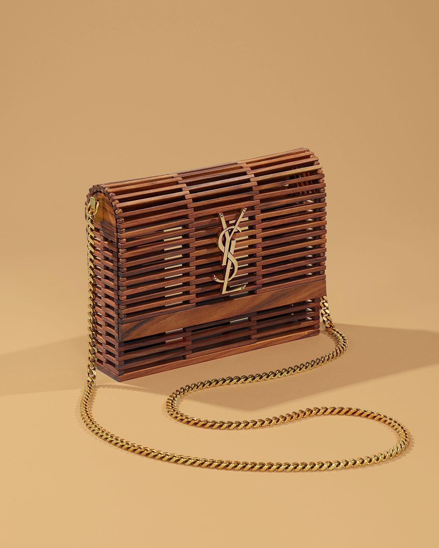 5d2edf1d5b15 Lyst - Saint Laurent Small Kate Wooden Weave Box Bag in Brown