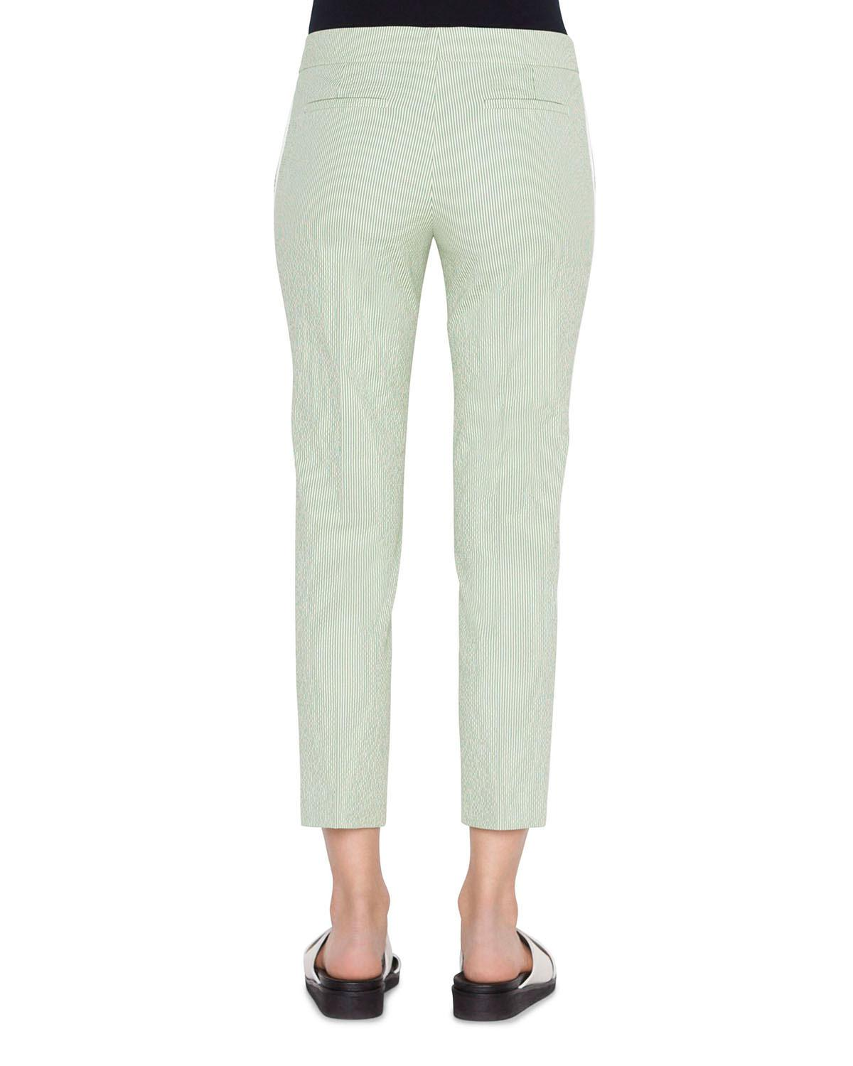 82dff27501a4 Lyst - Akris Punto Frankie Cotton Seersucker Pants in Green