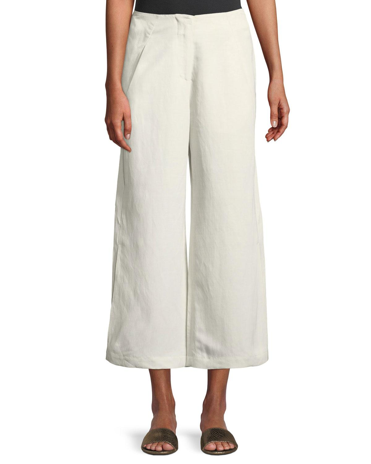 6e560f11ff8d Zero + Maria Cornejo. Women s White Tin Lightweight Linen-blend Wide-leg  Pants