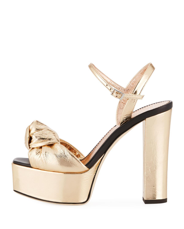 93bcf252e Lyst - Giuseppe Zanotti Knotted Metallic Platform Sandal in Metallic - Save  29%