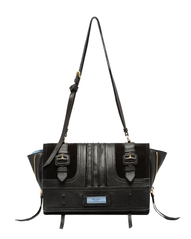 bbd66a5ac3f4 Lyst - Prada Medium Leather Etiquette Buckle Crossbody Bag in Black