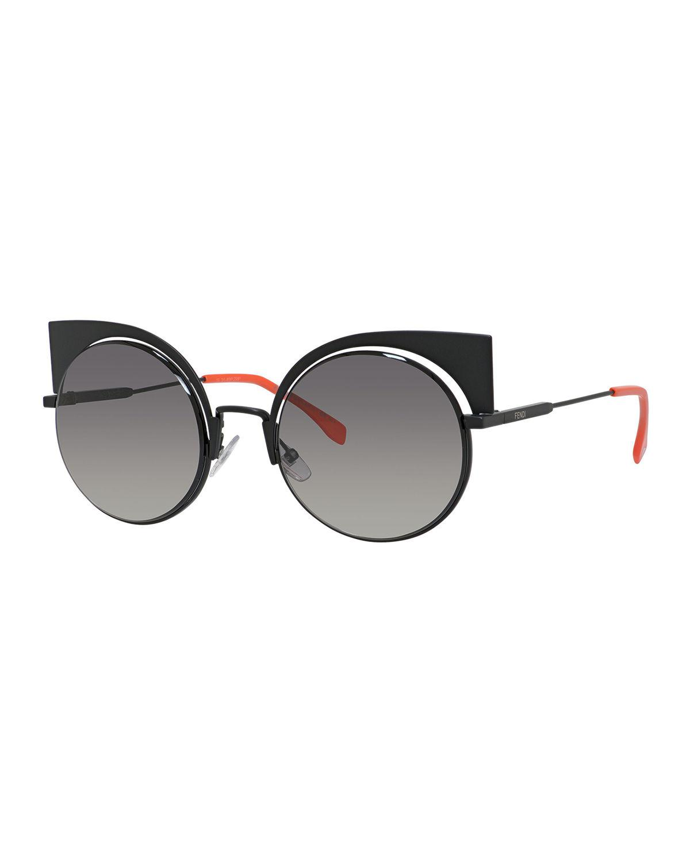 00a8d1f618 Lyst - Fendi Runway Mirrored Cutout Sunglasses in Black