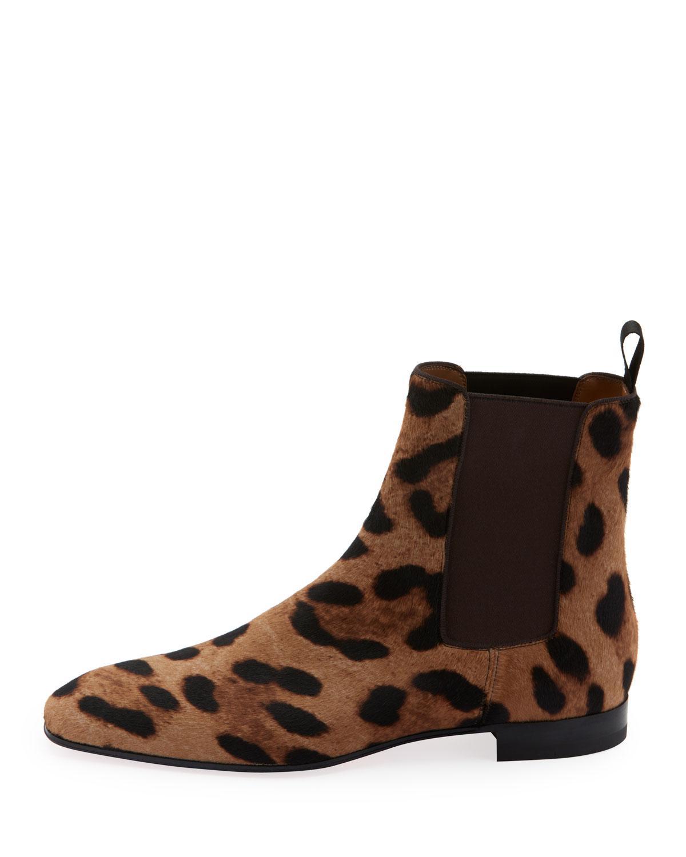 cc59099b66a Lyst - Christian Louboutin Men s Roadie Orlato Leopard Calf Hair Boots in  Brown